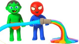 KIDS PLAYING WITH RAINBOW WATER ❤ SUPERHERO PLAY DOH CARTOONS FOR KIDS