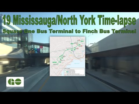 GO Transit - 19 Mississauga/North York Time-lapse (Square One Bus Terminal to Finch Bus Terminal)