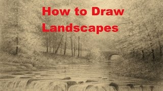 How to Draw Landscapes, Trees, Waterfall, Graphite Powder