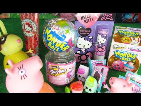 Peppa Pig and Friends Unbox Hello Kitty Hand Cream and Lip Balm feat Shopkins Surprise
