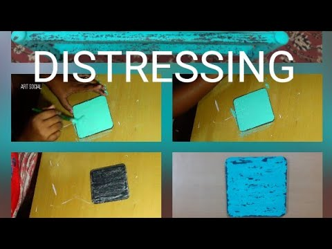 DIY distressing | vintage look on wood | distress wood |distressing with homemade chalk paint