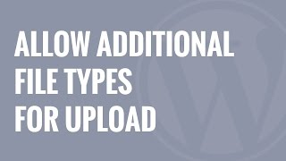 How to Add Additional File Types to be Uploaded in WordPress
