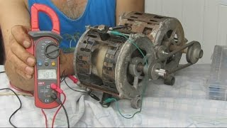 Generador Electrico Con un  Motor quemado-- Electric generator with washing machine engine Burne