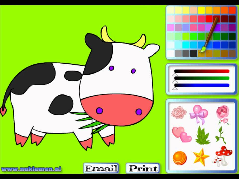 kleurplaat koe tekenspelletjes
