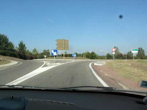 France—Roundabout on route to Rodez and Limoges (HD)