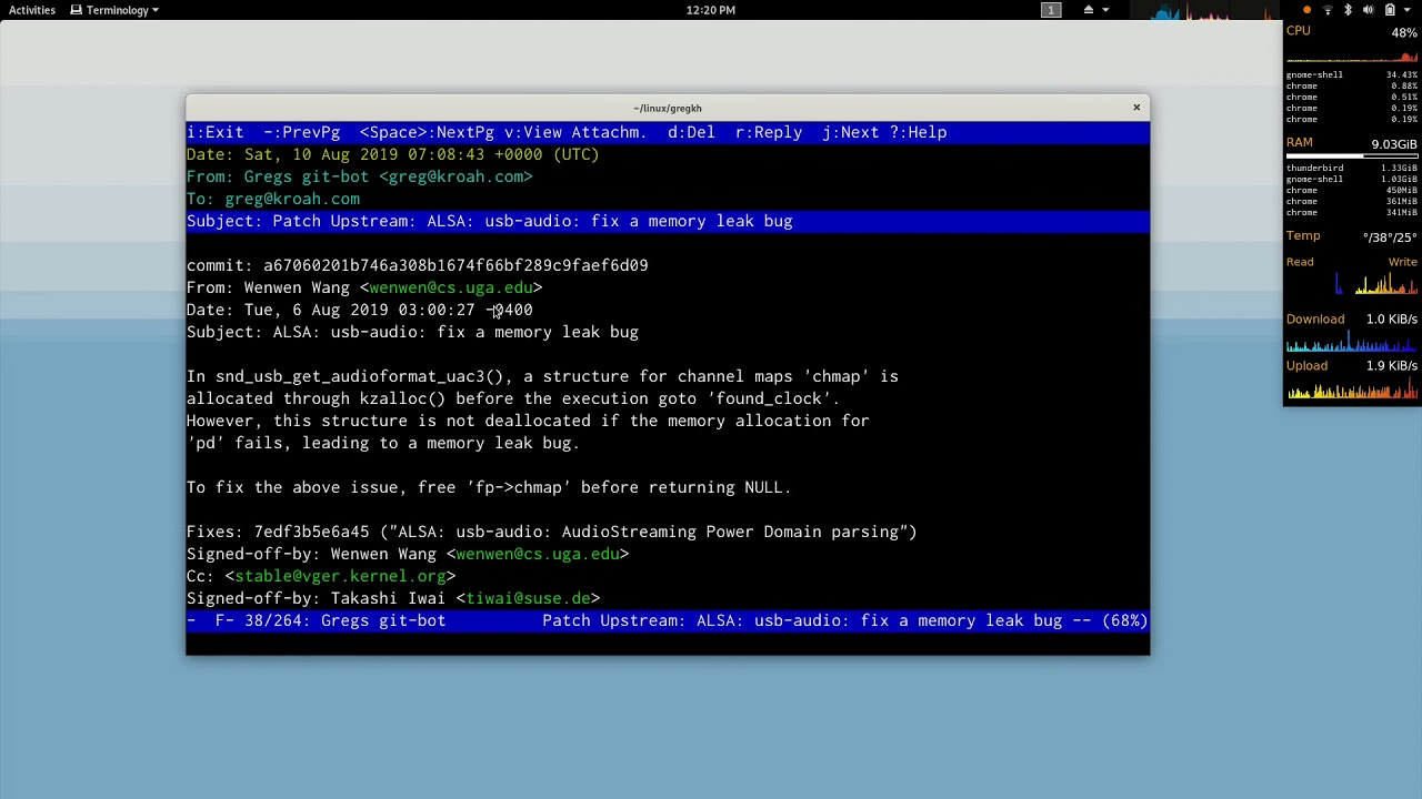 Patch workflow with mutt - 2019 - Linux Kernel Monkey Log