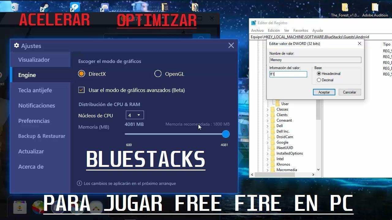 configurar bluestacks para jugar free fire