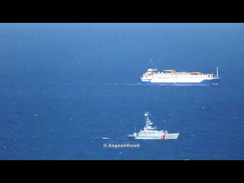 Livestock Carrier Youzarsif H, who sunk Russian Navy ship Liman, southbound Chios Strait.