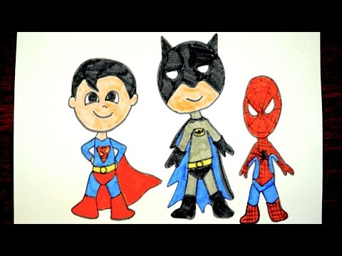 How To Draw Batman Superman And Spiderman Kids Superhero Coloring