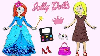 Paper Doll Dressing Up Beautiful Blue Glitter Dress and Accessories & Doing Make-up