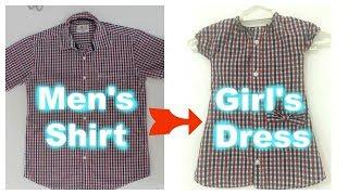 DIY/Convert Men's Shirt to Cute girl's Dress | Super Easy | For Beginners