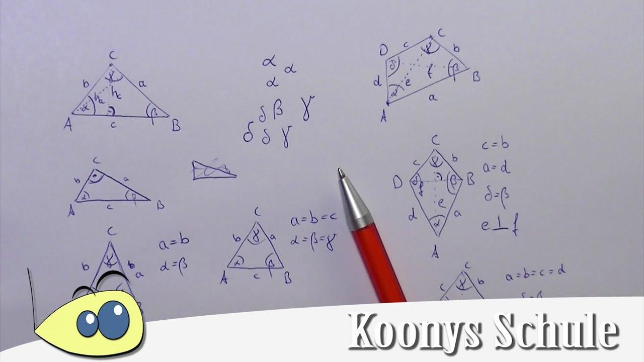 Dreiecke und Vierecke beschriften, Ecken, Winkel, Seiten - YouTube