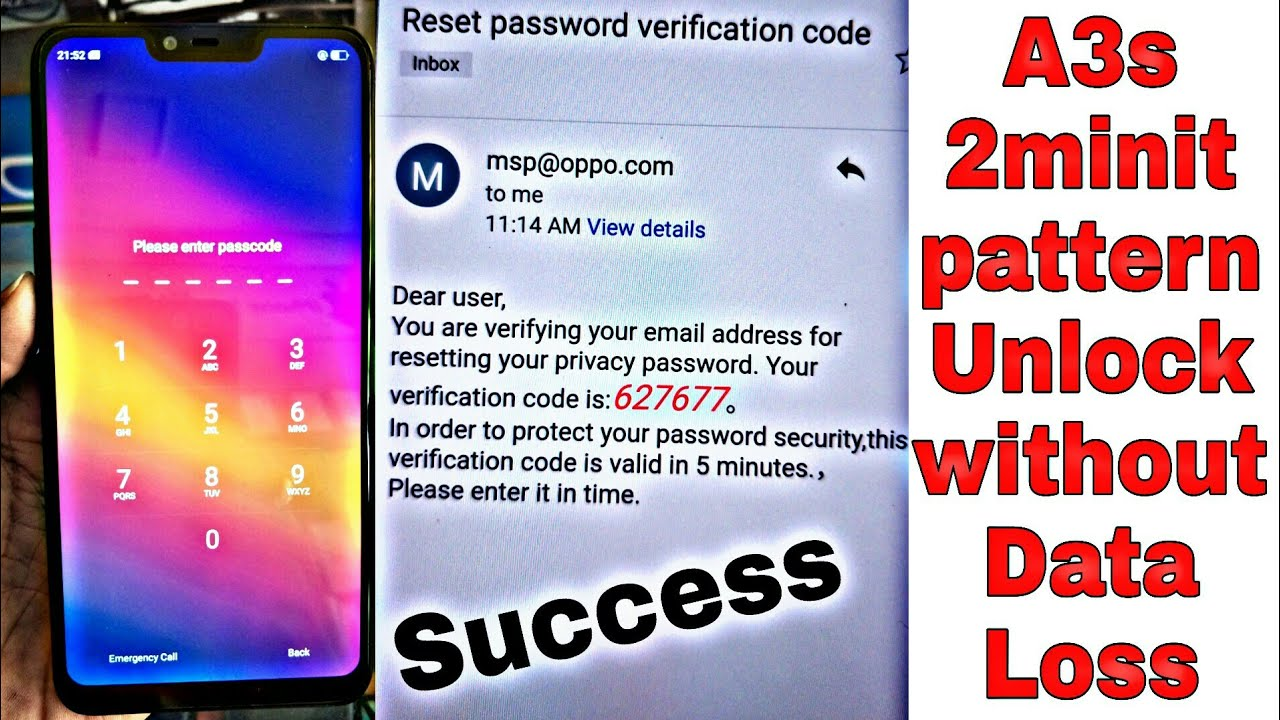 Oppo A3s without data Pattern unlock hard reset