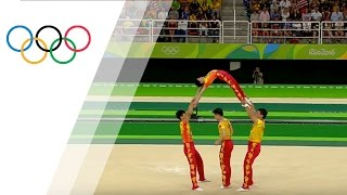 Chinese acrobatic team uses a human jump rope