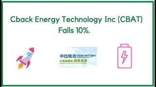 CBack Energy Technology Inc (CBAT) Falls 10%