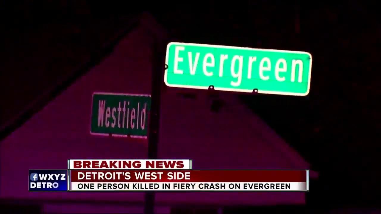 One dead in fiery single-car crash on Detroit's west side