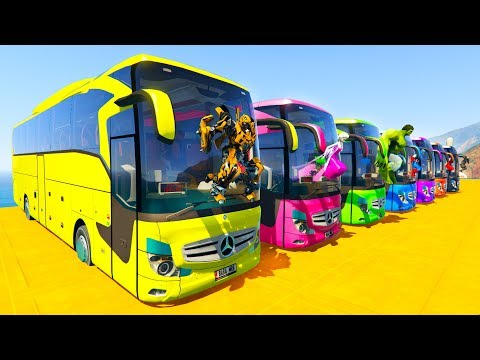 LEARN COLOR BIG BUS with Superheroes  Cartoon for kids and babies thumbnail