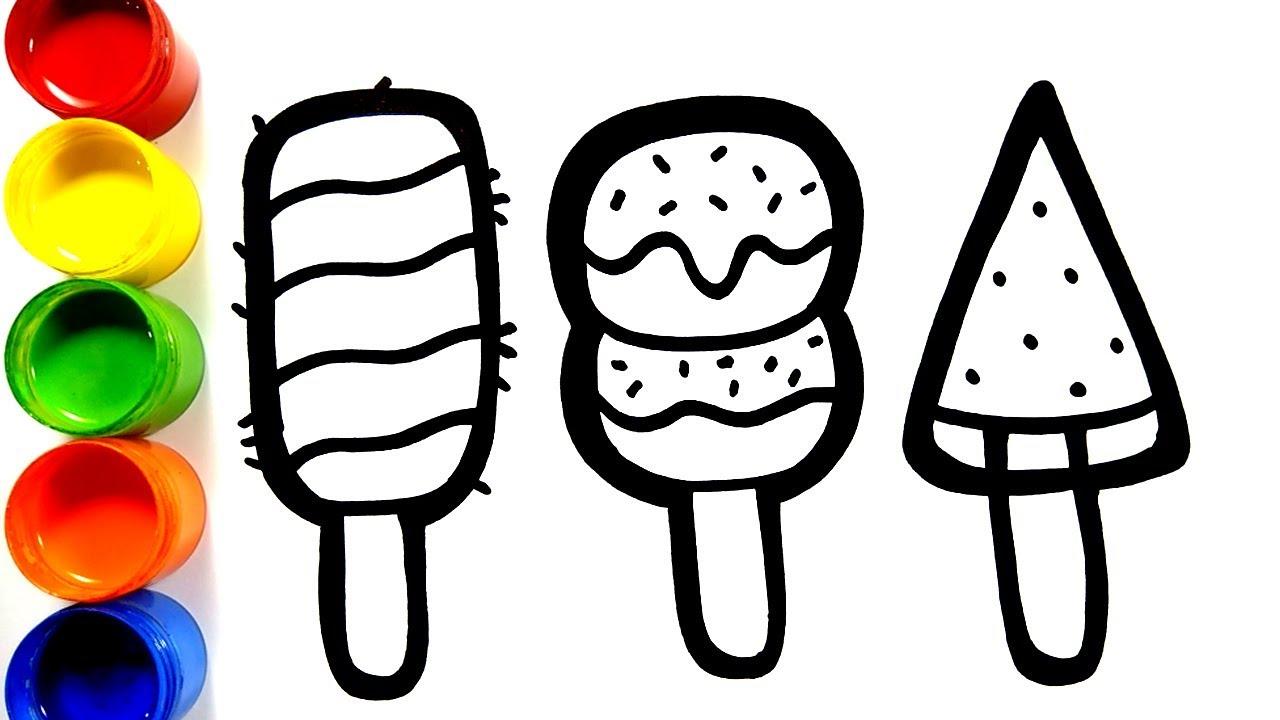 cara menggambar dan mewarnai es krim untuk anak