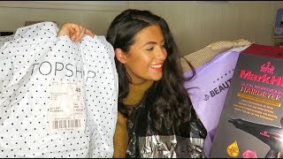 BOXING DAY SALES TRY ON HAUL | BEAUTY BAY HAUL | TOPSHOP, NEWLOOK, BOOTS, MARKHILL