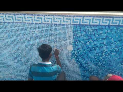 Epoxy grout filling in Swimming pool tiles