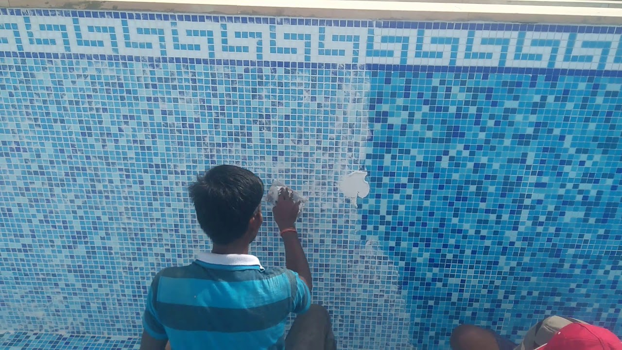 Epoxy grout filling in Swimming pool tiles - YouTube