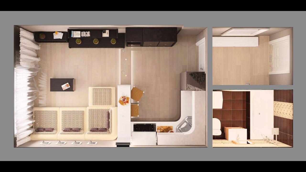 Дизайн квартиры студии прямоугольной формы 30 метров.