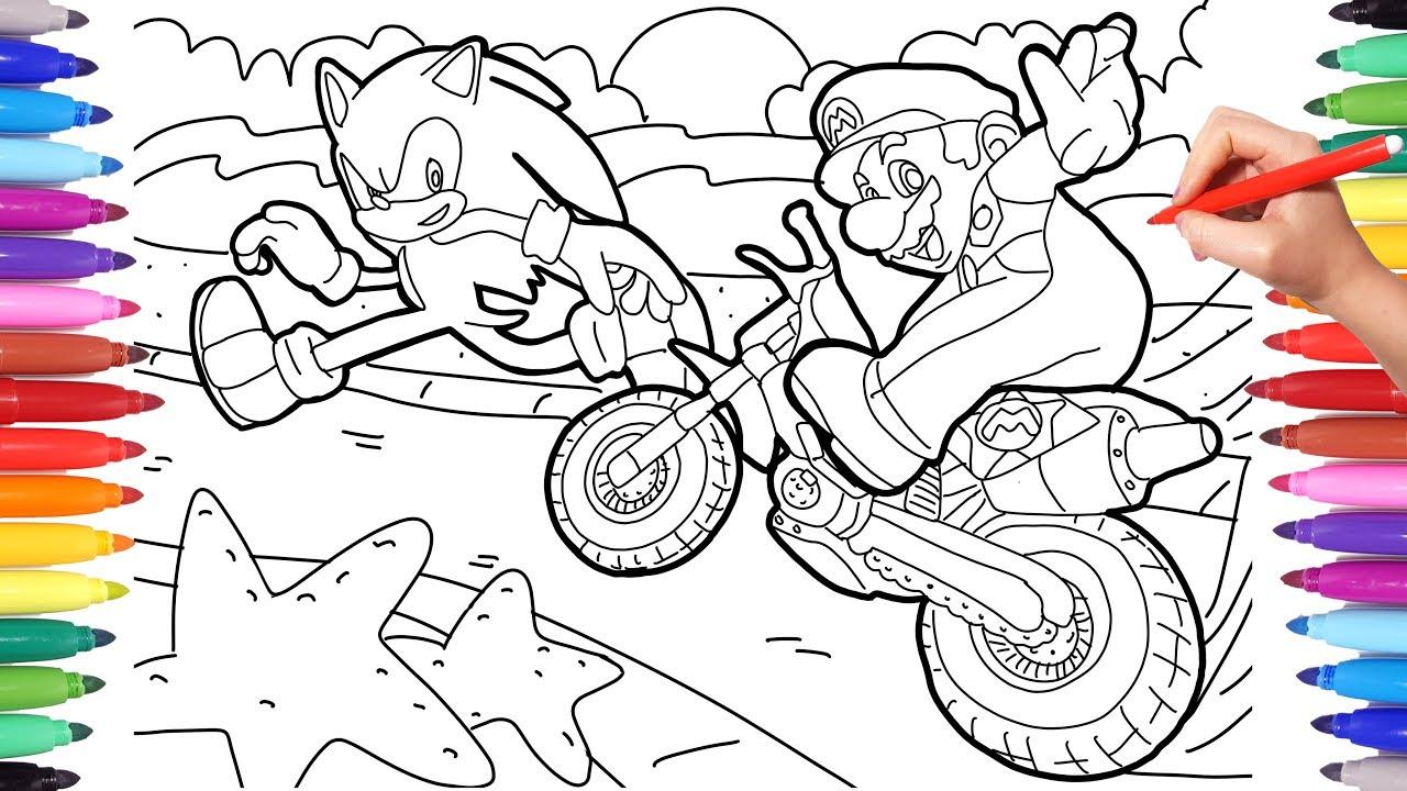 Sonic Hedgehog Vs Super Mario Race Coloring Pages Sonic Coloring For Kids Mario Coloring For Kids Youtube