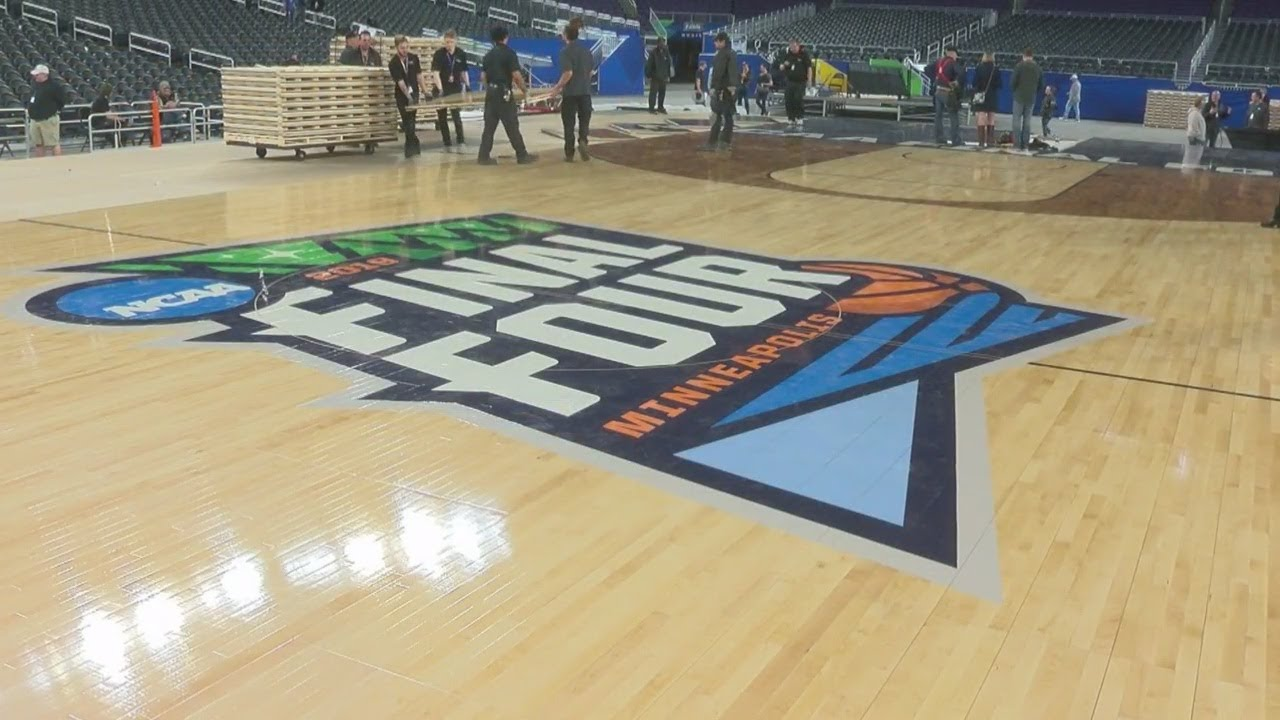 NCAA Men's Final Four basketball court in place at US Bank Stadium