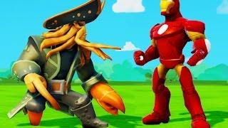 Железный Человек и  пират Дейви Джонс ездят на машинках Дисней