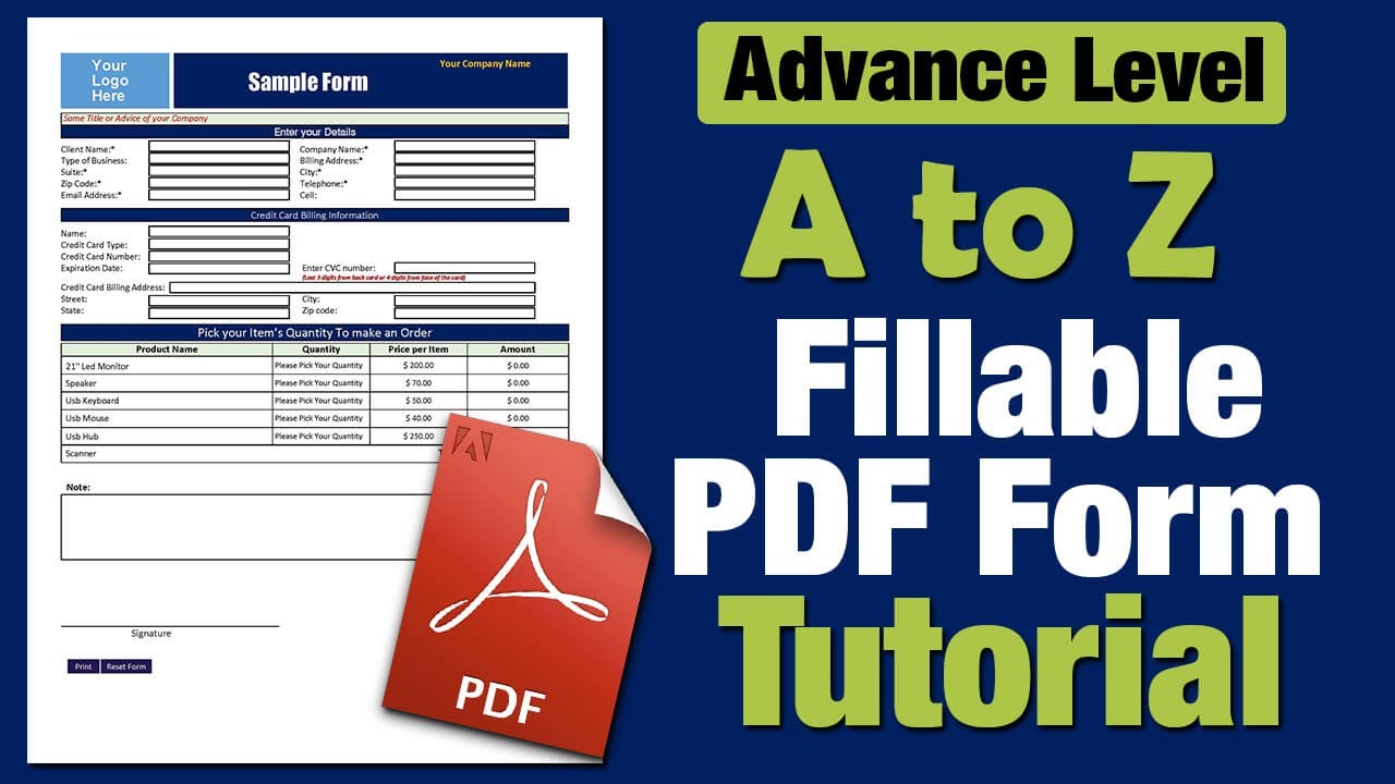 How to Create a Fillable PDF form - step by step Tutorial - YouTube