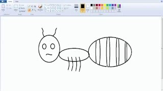 How to draw a funny ant  on ms paint very easy