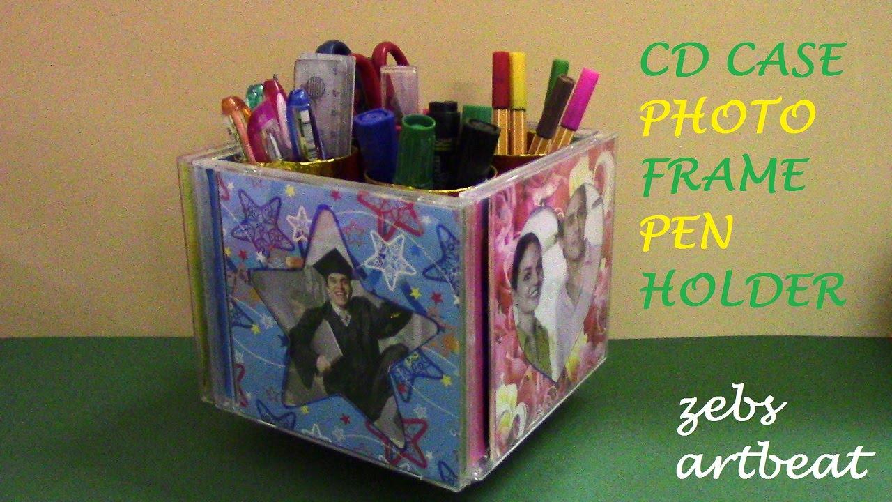 diy photo frame pen holder recycle old cd cases tissue paper rolls