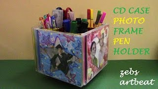 Diy Photo Frame Pen Holder (recycle Old Cd Cases, Tissue Paper Rolls)