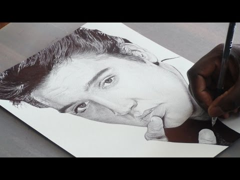 Elvis Presley Pen Drawing - DeMoose Art