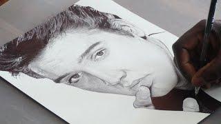 Elvis Presley Pen Drawing - DeMoose Art
