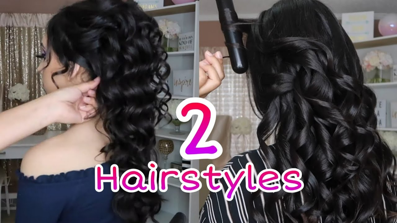 2 Peinados Recogidos Fáciles Cabello Largo Easy Hair Style For Medium Or Long Hair Semirecogidos Youtube