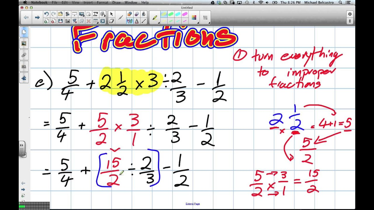 Bedmas with Fractions (Grade 8 Nelson Lesson 9.10 21 3 13) - YouTube [ 720 x 1280 Pixel ]