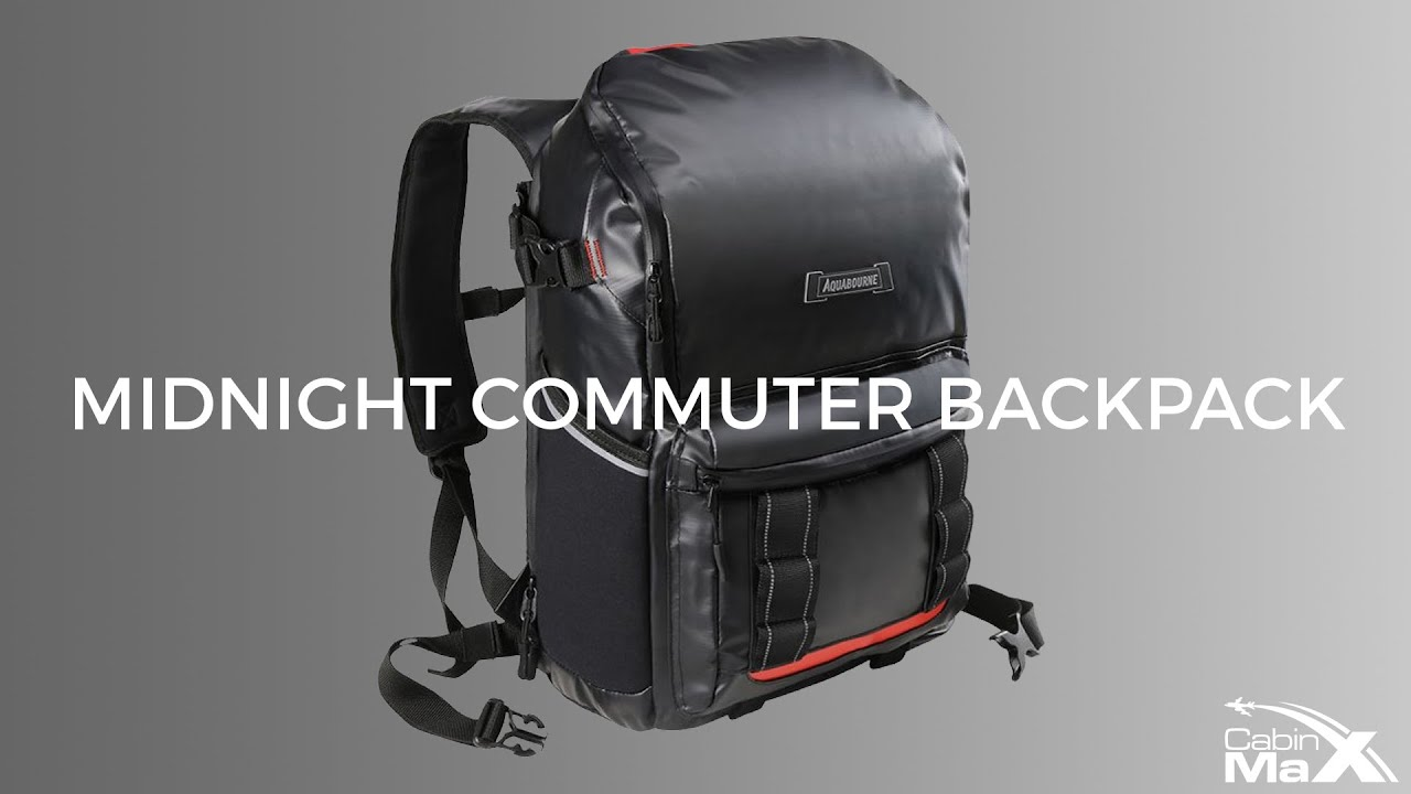 Black Aquabourne EOS Commuter Cycling Backpack with integrated LED safety light