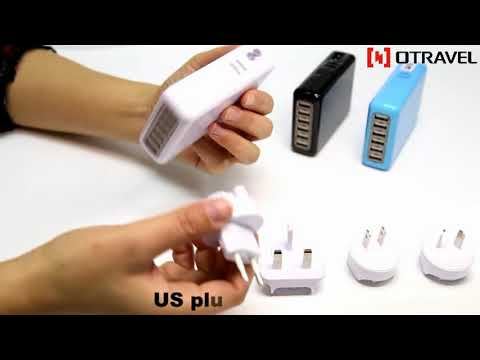 Otravel 6 ports USB travel charger UK US EU AUS plugs in one set
