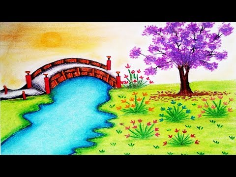 how-to-draw-garden-scenery-step-by-step---garden-drawing