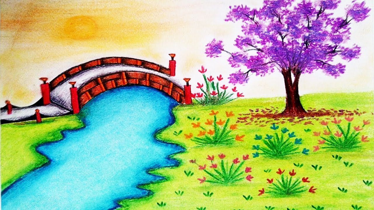 How To Draw Garden Scenery Step By Step Garden Drawing Youtube