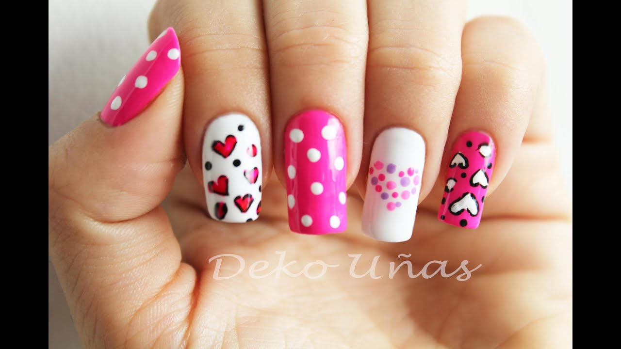 Decoracion De Uñas Corazones Puntos Heart Dots Nail Art Youtube