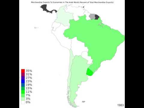 South America - Merchandise Exports To Economies In The Arab World - Time Lapse