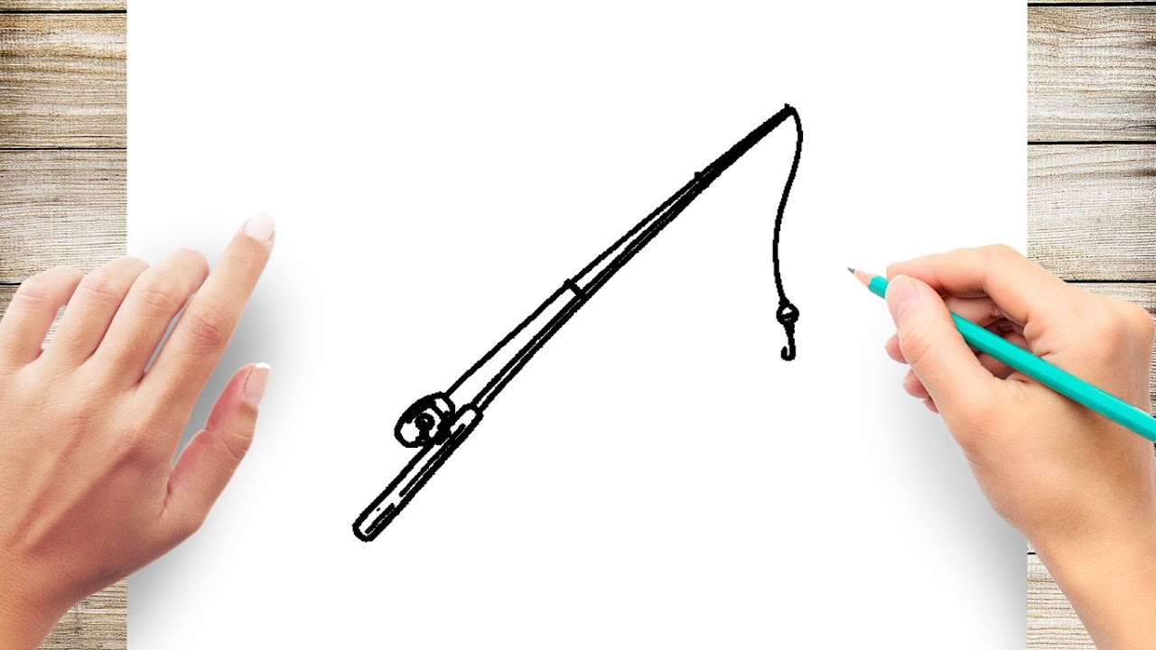 How To Draw Fishing Rod Easy Youtube