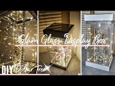 DIY Dollar Tree Glam Glass Display Case W/ Mirrors & Lights | Light Box | Room Decor | Wedding Ideas