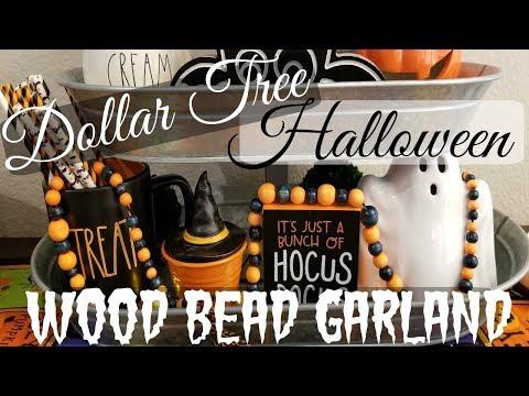 Dollar Tree D.I.Y| Halloween Wood Bead Garland