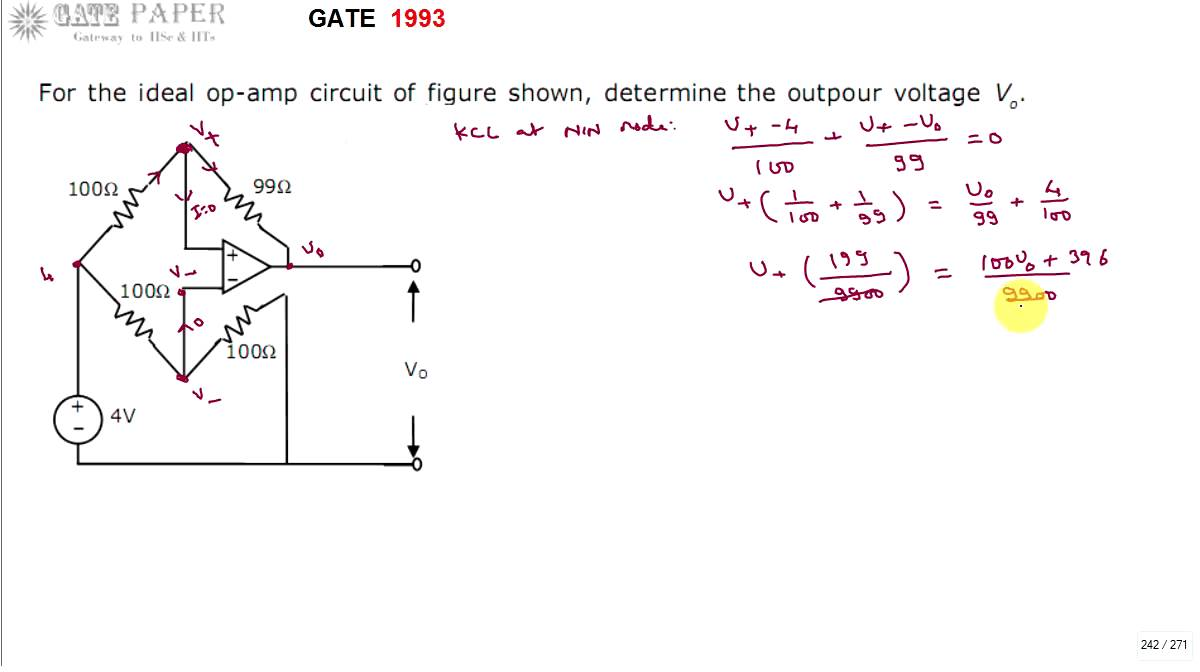 small resolution of gate 1993 ece output voltage of given operational amplifier circuit