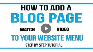 Wordpress Tutorial: How to add blog page to your menu