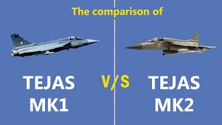 The comparison of Tejas MK1 and Mk2 fighter aircraft built by HAL #India #fighterjet