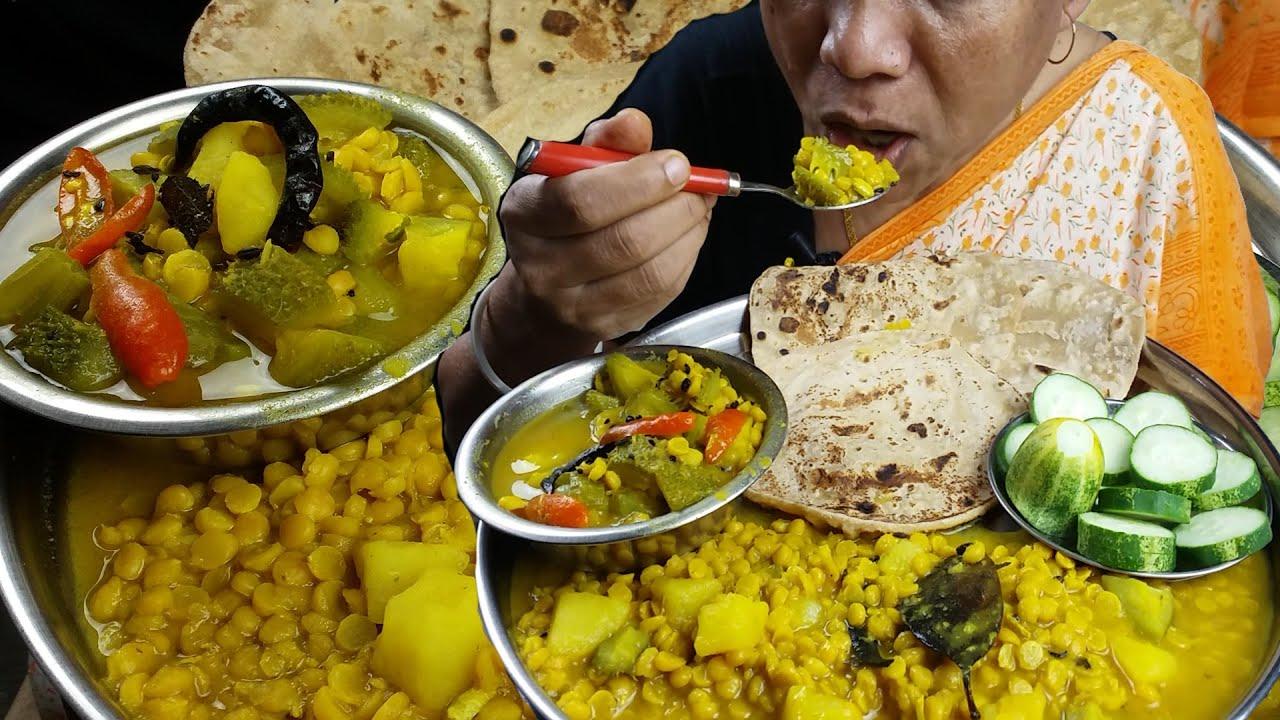 Roti Sabji Made in Just 5 Minute Recipe with Eating Mukbang Indian Food